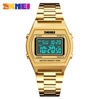 skmei watches mens venda por atacado-SKMEI Marca Relógio Dos Homens de Luxo LED Digital Sports Relógio Eletrônico Contagem Regressiva Inoxidável Dos Homens À Prova D 'Água de Pulso 1328