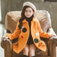 bebek kış toptan satış-4-13 yaşındaki kız yün ceket uzun sonbahar ve kış Moda Yuvarlak dikiş Doll yaka yastıklı yün siper Gevşek eğlence
