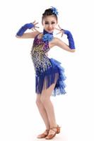 dança de dança para crianças venda por atacado-Azul amarelo vermelho borla trajes de dança latina para crianças tango lantejoulas traje de samba rumba vestido de dança menina competição dança desgaste