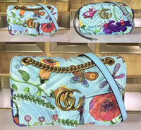 Wholesale christmas workers - Womens Unskilled Worker Marmont Shoulder Bag Satin Lining Jeanie's Garden Print Double G with Box Dust Bag Free Shipping