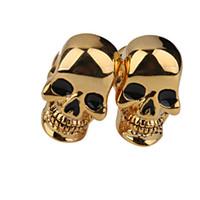 botões onyx venda por atacado-Fantasma de Ouro Esqueleto Crânio Cabeça Abotoaduras Para Homens Do Presente Do Partido Do Traje 2016 Ee