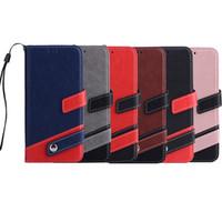 couro etc venda por atacado-Alta qualidade de couro costura wallet phone case para iphone x 6 7 8 plus e samsung s9 mais etc