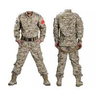 uniforme del ejército camo al por mayor-Camisa táctica uniforme del ejército + pantalones Camo camuflaje ACU Combat Uniform Combat Hunting traje de la ropa de los hombres