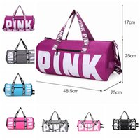 Wholesale media storage organizer - Pink Letter Printing Travel Storage Bag Women Tote Shoulder organizer Duffle Bags Travel Beach Shoulder Bag KKA4488