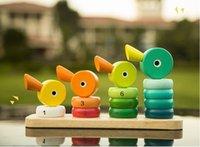 ingrosso giocattoli di anatra di legno-Duck Stacker Wooden Counting Block Set Giocattoli educativi per la matematica precoce per bambini