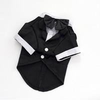 ingrosso vestito del cane del cucciolo del cane-Vestiti del cane di lusso Cucciolo di cane di cotone nero di alta qualità per il tempo libero Abiti di Natale Pet Dog Camicie Costume