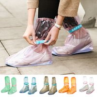 Wholesale overshoe boots - 8styles New Reusable Rain Shoe Covers Waterproof Shoes Overshoes Boot Gear Anti-slip Cycle Adjustable Rain Flat Overshoes Rain Gear FFA419