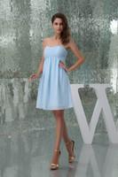 luzes do império venda por atacado-Strapless chiffon curto vestidos de dama de honra luz céu azul empir ruched na altura do joelho império convidado do casamento formal maid of honor vestidos WD5-006