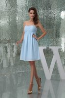 Wholesale strapless sweetheart empire wedding dresses resale online - Strapless Chiffon Short Bridesmaid Dresses Light Sky Blue Empir Ruched Knee Length Empire Formal Wedding Guest Maid Of Honor Dresses WD5