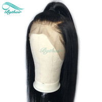 Wholesale human hair large wigs black for sale - Group buy Bythair Human Hair Lace Front Wig Silky Straight Pre Plucked Hairline Soft Brazilian Virgin Hair Full Lace Wig Density With Baby Hair