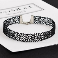 Wholesale Crochet Chain Necklace - whole saleNK246 New Sexy Gothic Tattoo Black Harajuku Punk Hollow Flower Lace Crochet Chokers Necklace for Women Jewelry Girl Clavicle