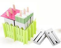 eiscreme-lachsformen groihandel-Umweltfreundlich Lolly Mold Edelstahlformeinschließung Popsicle Moulds 6cells Gefrorene Eiswürfelformen Popsicle Maker Diy Ice Cream Werkzeuge Kochen Tools