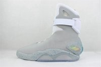 Wholesale Black Wide Calf Boots - Air Mag Mens Back To The Future Lighting Mags Men Casual Shoes LED Lights High Top Sneakers Black Grey With Yellow Boxes Size 40-46 13