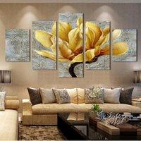 ingrosso foto di orchidee libere-Moda immagini di trasporto libero stampe su tela oro orchidea fiore pittura a olio 5 pezzi di arte della parete decorativa senza cornice