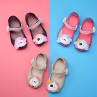 Wholesale kids shoes pairs - 3 Colors Mini Melissa Unicorn Shoes Jelly Shoes Unicorn Sandals Fish Mouth Girl Non-slip Kids Sandals 2pcs pair CCA9299 30pairs