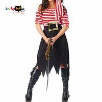 Wholesale girl pirate cosplay for sale - Women Pirate Costume Girl Crew Costume Halloween Costumes Pirate Cosplay Short Sleeve Striped Party Dress Skirts for Lady