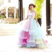 Wholesale rainbow prom dress - Prom Dresses Sexy Strapless Tulle Colorful Rainbow A Line Bridal Evening Gowns Crystal Sleeveless Plus Size Vestidos De Festa BA1754