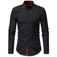 лучшие брендовые мужские рубашки оптовых-2018 new best selling men's shirt fashion  Slim section contrast color double collar shirt men's long sleeve casual