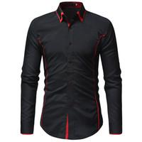 a melhor cor da camisa manga longa venda por atacado-2018 novo best-seller dos homens da marca de moda camisa de Slim seção contraste cor dupla gola da camisa dos homens de manga longa casual