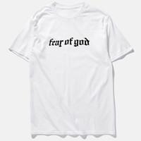 xl tamanho da camiseta venda por atacado-Verão Medo de Deus Oi-street T-shirt Preto Cinza de Manga Curta Homens Hip Hop T camisas Plus Size M-3XL
