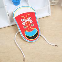 juguetes educativos para niños pequeños al por mayor-Niños Rompecabezas De Madera Tangram Jigsaw Board Toddler Kids Zapatos de Cordón Enseñanza de los Primeros Juguetes Educativos Tie Shoelaces Juguetes