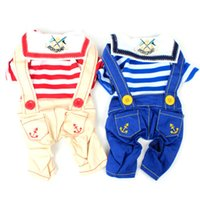 Wholesale navy hair - Striped Navy Style Pet Clothes Cat Dog Costume Four Leg Jumpsuit Clothing for Small dogs Rompers Puppy Jean Jumpsuit summer