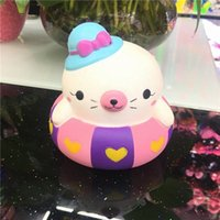Wholesale Cute Big Rings - Swimming Ring Cat Squishy Cute 10cm Jumbo Slow Rising Phone Straps Cartoon Cream Scented Bread Kid Fun Toy Gift Free Shipping