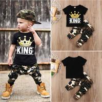 melhores preços roupas venda por atacado-Toddler Kids Baby Boys Tops T-shirt Camo Calças 2Pcs Outfits Set Roupas 0-5T Melhor Preço Para Você