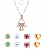 Wholesale Girls Christmas Gift Ideas - Fresh Necklaces Earrings Sets Girls  Ladies Gift Idea Hamsa Hand Charm Jewelry Sets Chokers Stud Earrings
