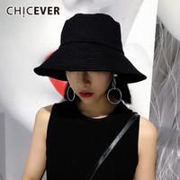 geniş ağızlı siyah şapka kadınlar toptan satış-CHICEVER Sonbahar Yaz Kadın Şapka kadın Kap Rahat Geniş Ağız Düz Siyah Şapka Kadınlar Için Headdresses Kore Moda Gelgit 2018
