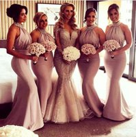 Wholesale champagne halter neck wedding dress for sale - Group buy 2018 New Bridesmaid Dresses Halter Neck Mermaid Ruched Draped Beaded Crystal Floor Length Backless Custom Wedding Guest Maid Of Honor Gowns