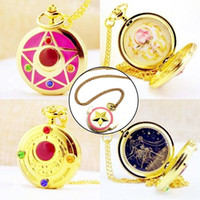 Wholesale Girls Chain Watches - whole sale4 Style Luxury Golden Fashion Sailor Moon Anime Cartoons Quartz Pocket Watch Analog Pendant Necklace Girl Womens Watches Gift