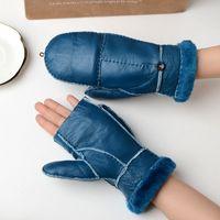 guantes de piel azul al por mayor-Guante de piel de invierno amarillo azul piel de oveja piel guantes mujer