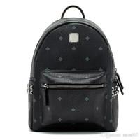 Wholesale black computer bag - 2018 Top quality New Brand Designer Stark Backpack Studded Visetos punk women men backpack school bag Duffel Bags