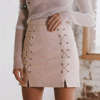 Wholesale womens suede skirts - Autumn lace up leather suede pencil skirt Winter 2018 cross high waist skirt Zipper split bodycon short skirts womens