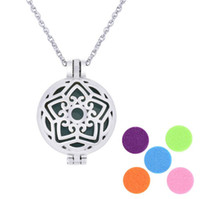 Wholesale locket necklaces online - Aroma jewelry Locket Necklace Stainless Steel Pendant Magnetic butterfly Diffuser Randomly With Felt Pads