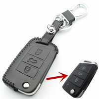 Wholesale Skoda Remote - Genuine Leather 3Button Flip Remote Key Case Cover For Vw Golf7 GTI MK7 For Skoda Octavia A7 Car Styling L2198