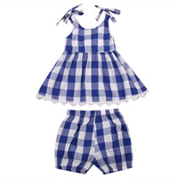 pantalones corto corto al por mayor-2 unids Toddler Kids Baby Girls Checked Dress Tops + Shorts Trajes Ropa Set Regalos Cinturón Plaid Moda Sundress sin mangas
