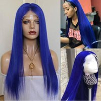 Wholesale white blonde human long wigs for sale - Group buy Blue Colored Full Lace Wigs White Blonde Color Wigs Silky Straight Brazilian Virgin Remy Human Hair Blonde Lace Front Wig
