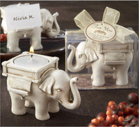 Wholesale Ivory Elephant Candle Holder - Fashionable Style Resin Ivory Lucky Elephant Tea Light Candle Holder Wedding Party Home Decoration Gift Durable Candlestick