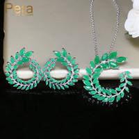 зелёные серьги бижутерия оптовых-Pera Trendy Women Costume Jewelry Silver Color Big Marquise Cut Green Cubic Zirconia Necklace And Earring Set For Best Gift J222