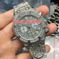 Wholesale fashion watch ice online - 42mm Full iced silver case watch men s luxury diamonds stopwatch chronograph VK quartz full works sub dials shiny wristwatch silver face