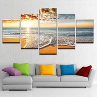 Discount abstract art sea oil painting - Canvas Paintings Home Decor Framework HD Prints 5 Pieces Sunshine Beach Sea Waves Seascape Pictures Living Room Wall Art Posters