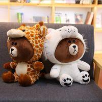 kahverengi takım elbise toptan satış-Kahverengi Ayı Peluş Oyuncak Kore Ayı Dinozor / Domuz / Köpek / Takım Sevimli Hayvan Dolması Yumuşak Bebek Anime Figürü Bebek Çocuk Oyuncakları çocuğun Hediye