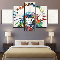 pinturas indianas americanas venda por atacado-Lona HD Imprime Pinturas Home Decor Para Sala de estar 5 Peças Native American Indian Pena Cartazes Modular Pictures Quadro