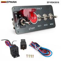 painéis de ignição venda por atacado-EPMAN - 4 em 1 Painel De Fibra De Carbono De Corrida Do Motor Do Carro Iniciar Empurrar Interruptor De Ignição Toggle Kits EP-RSK3018