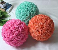 dekoratif ipek çiçek topları toptan satış-Moda 10 inç (25 cm) Asılı Dekoratif Çiçek Topu Centerpieces İpek Gül Düğün Öpüşme Topları Pomanders Nane Düğün dekorasyon Top
