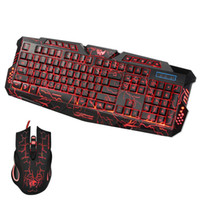 Wholesale backlit keyboard computer resale online - Russian Keyboard Changeable LED with Color Luminous Backlit Multimedia Ergonomic Gaming Keyboard and Mouse Set for Game computer