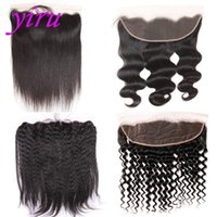 Wholesale lace frontal online - Brazilian Virgin Hair X Lace Frontal With Baby Hair Pre Plucked Ear To Ear Body Wave Straight Hair Kinky Straight Deep Wave