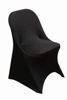 ingrosso copricapo nero in lycra-Copertura della sedia nera dello spandex di trasporto libero / copertura della sedia piegante lycra / copertura della sedia di banchetto per nozze